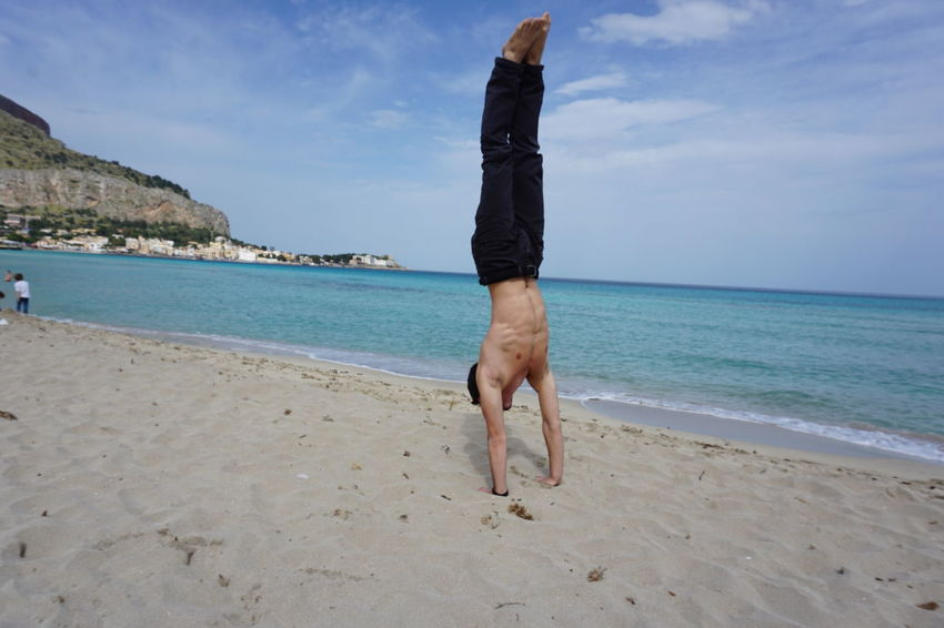Beach Beauty In Nature Day Handstand  Handstand  Handstand ♥  Handstandeveryday Handstands Handstandseverywhere Horizon Over Water Human Body Part Low Section Men Mondello Nature One Man Only One Person Outdoors People Real People Sea Sky Summer Upside Down Water Mix Yourself A Good Time Done That.