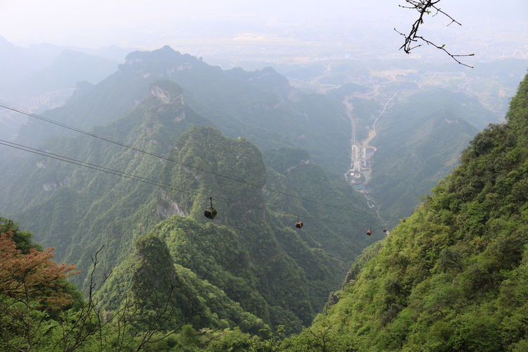 Tian Men Shan Adventure Beauty In Nature Cable Day Fog Forest Green Color High Angle View Landscape Lush Foliage Mountain Mountain Range Nature No People Non-urban Scene Outdoors Overhead Cable Car Paragliding Scenics Ski Lift Sky Tranquil Scene Tranquility Tree