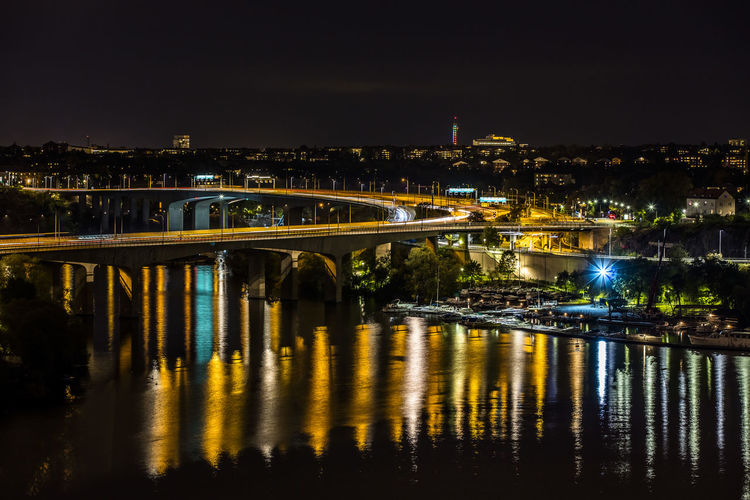 The Graphic City Stockholm Sweden Architecture Bridge - Man Made Structure Building Exterior Built Structure City Cityscape Connection Essingeleden Illuminated Night No People Outdoors Reflection River Sky Water Mobility In Mega Cities