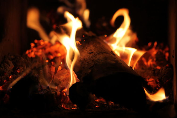 Burning Close-up Fire Fire - Natural Phenomenon Flame Heat - Temperature Indoors  Night No People Orange Color Warm Light