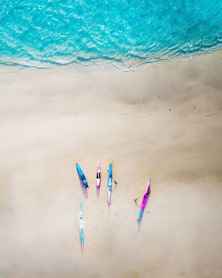 High angle view of women on beach