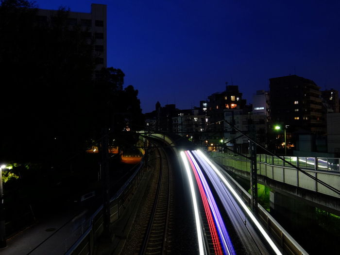 Blurred motion of train on road at night