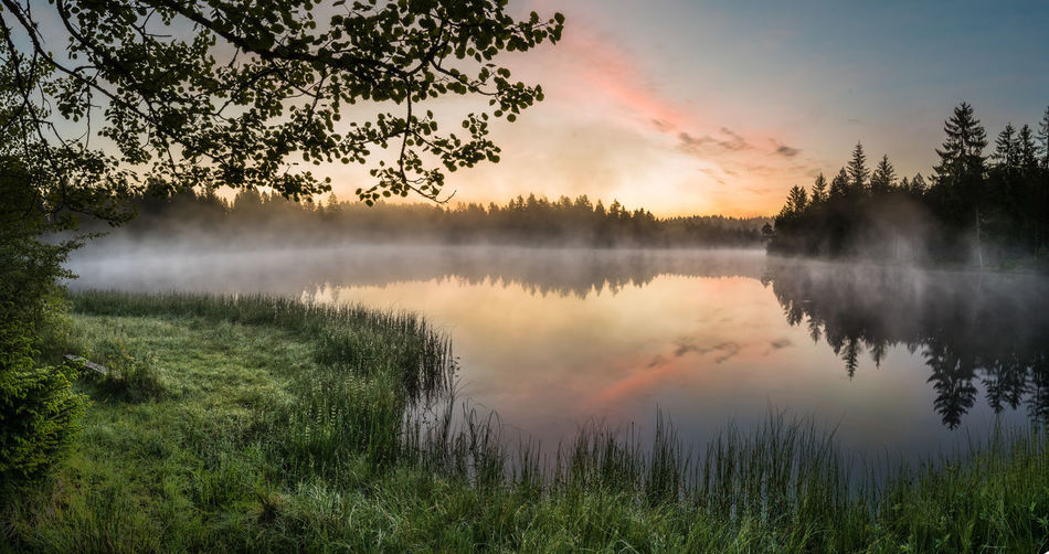 A wow sunrise Dramatic Sky Nature Reflection Beauty In Nature Clouds Early Morning Fog Grass Hazy  Idyllic Lake Landscape Mirror Lake Nature No People Reflection Reflection Lake Reflections In The Water Sky Standing Water Sunrise Tranquility Tree Water