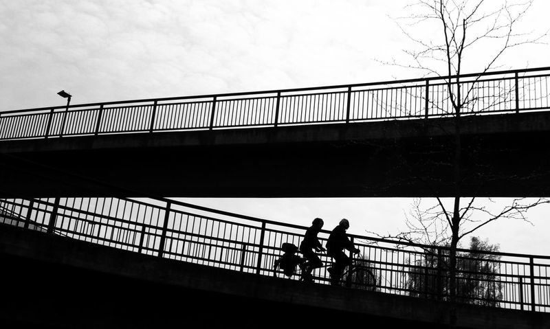 Tandem Silhouette Bridge - Man Made Structure Bridges Railings Built Structure Outdoors Adults Only Bicycle Tandembicycle Streetphotography Transportation Street Bnwphotography Sky Day Bnw Bicycling Bicycle Track Low Angle View Bnw Streetphotography Clouds Bare Tree Streetlight The Street Photographer - 2017 EyeEm Awards The Graphic City