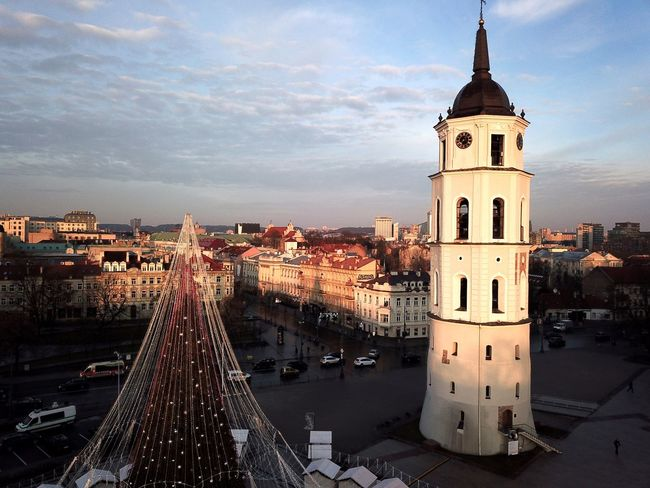 Vilnius Cathedral Tower Cathedral Vilnius Cathedral Square Architecture Building Exterior Built Structure City Cityscape Cloud - Sky Day No People Outdoors Place Of Worship Sky Tower Transportation Travel Destinations