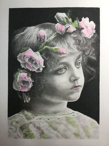 Charcoal drawing with tinting to resemble an old-time photograph. 20 x 25 cm Charcoal Charcoal Drawing Charcoaldrawing Portrait Realistic Art Realistic Drawing Tinted Portrait Young Girl