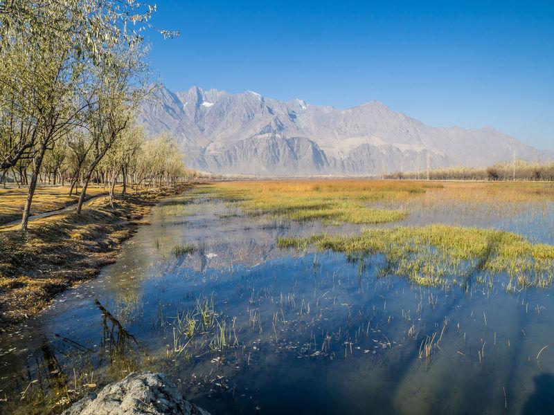 Beauty In Nature Blue Impressive Katpana Lake Pakistan Lake Landscape Mountain Peaceful View Reflection Skardu Pakistan Tree
