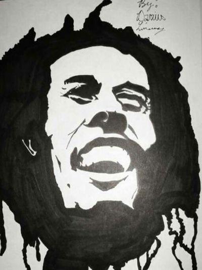 I Shot The Shariff Marker Art Awesome Lovelypic Prettycool Cool Art Artsy Art, Drawing, Creativity Artistic Sweetpic DopePic Handmade By Me DOPE Drawing Blackandwhite Bob Marley I Shot The Sherrif Peace