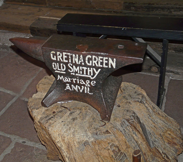'The wedding Anvil' - Gretna Green, Scottish borders, UK Wood - Material Text Smithy Shop Outdoors No People Marriage Anvil High Angle View Gretna Green Day Communication Close-up Scottish Borders