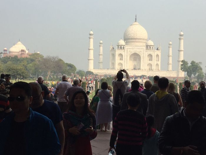 Normal day at Taj Mahal Crowd Group Of People Large Group Of People Real People Architecture Built Structure Building Exterior