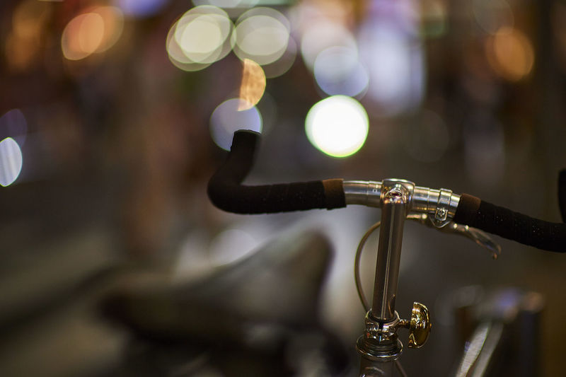Cropped Image Of Bicycle At Night