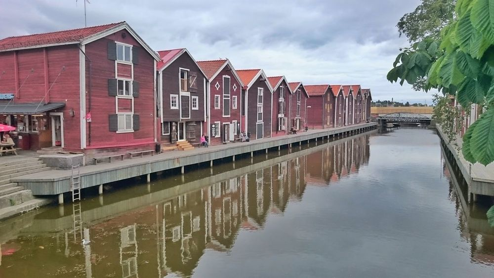Canal Red House Sjöbodar Boathouses Boathouse Row Wooden House Architecture_collection Habour View Hudiksvalls Sjöbodar Hudiksvall Sweden Old-fashioned Reflection_collection Water Reflection