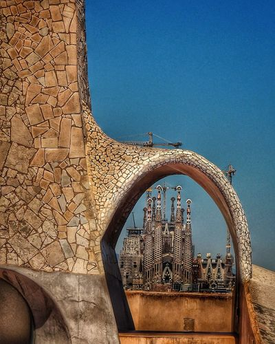 Sagrada Familia from the roof of Casa Milà Day No People Nature Full Frame