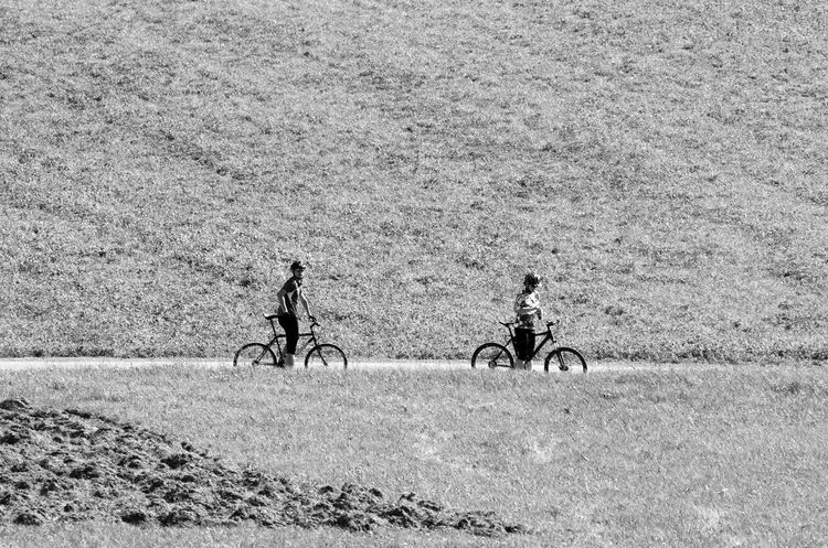 landscape Activity Bicycle Day Field Land Land Vehicle Leisure Activity Lifestyles Men Mode Of Transportation Nature Outdoors People Real People Ride Riding Sport Transportation Travel Two People