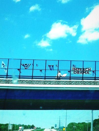 Road Trip Michigan Via Georgia Ohio Bridge Protester Impeachobama