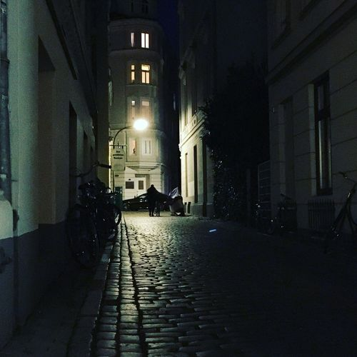 Architecture Building Exterior Built Structure Illuminated Night Cobblestone City The Way Forward No People Outdoors Wall Lamp Dark Alley Dark Road There Will Be Light Evening Mood Hamburg