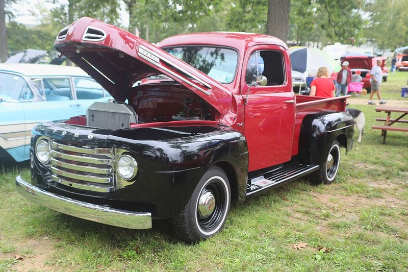 Vintage Ford Truck Beautiful Multi Colored Old Ford Truck Restored Snow Shoe, PA Car Show Ford Mode Of Transportation Transportation Land Vehicle Motor Vehicle Car Red Stationary Retro Styled Incidental People Outdoors Old Vintage Car