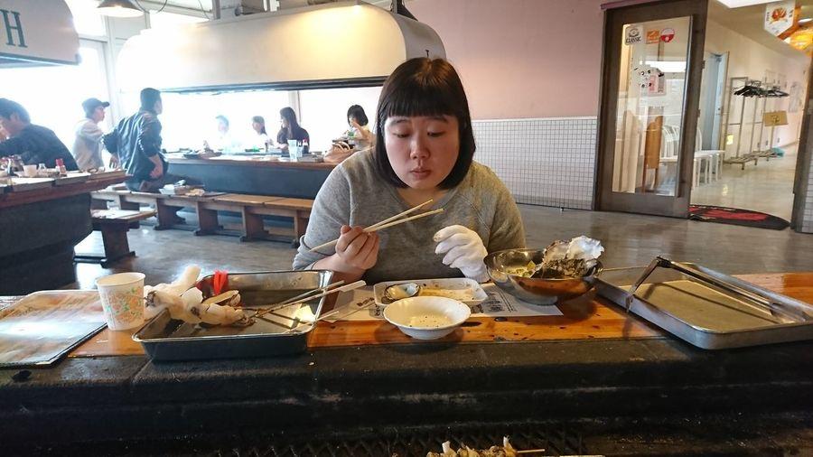 People eating food in restaurant