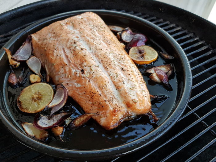 Grilled Salmon Citrus  Fish Grilled Fish Salmon - Seafood Heat Food Plate SLICE Directly Above Seafood Skillet- Cooking Pan Close-up Food And Drink Grilled Barbecue