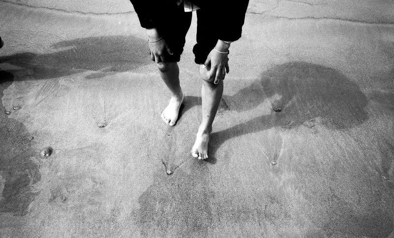 Blackandwhite Casual Clothing Film First Eyeem Photo Flowers Person Preparing Sand