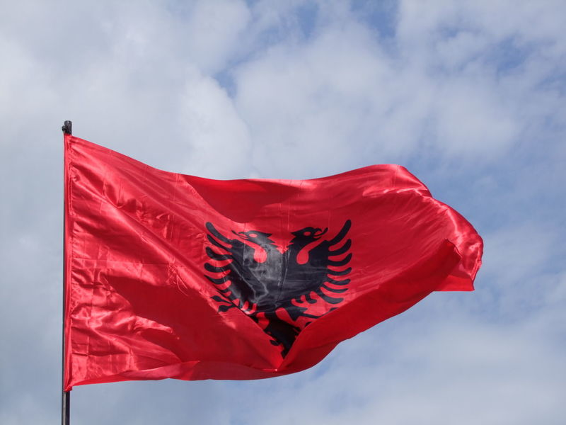 Albanian Flag Albania Blue Sky White Clouds Composition Country Flags Emblem  Flag No People Outdoor Photography Red And Black Skhoder