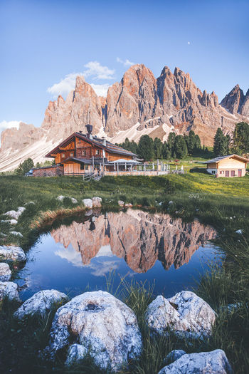Water Mountain Scenics - Nature Tranquility Mountain Range Architecture Beauty In Nature Sky Rock Tranquil Scene Lake Nature Reflection Rock - Object Solid No People Built Structure Day Waterfront Outdoors Formation Reflection Geisler Alm Dolomites Dolomiti