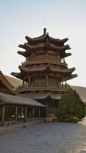 Cresent Lake Gobi Desert Architecture Tourism No People Travel History Built Structure Chinese Culture Chinese Architecture Travel Destinations DunHuang China Ancient Civilization Building Exterior Ancient Building Ancient China,Guizhou Landmark