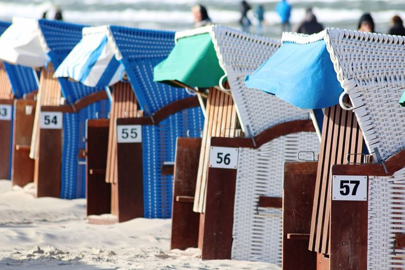 Hooded beach chairs at beach