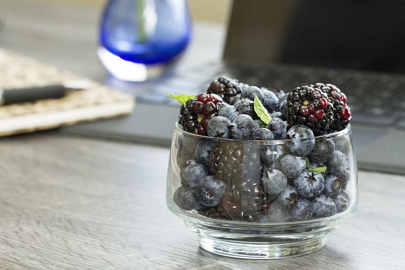 Snack of blueberries and blackberries at my desk Healthy Eating Blueberries Blackberry - Fruit Fruit Snack Time! Delicious EyeEm Best Shots Food EyeEm Selects Cold Temperature Table Fruit Close-up Sweet Food Food And Drink Blueberry Blackberry