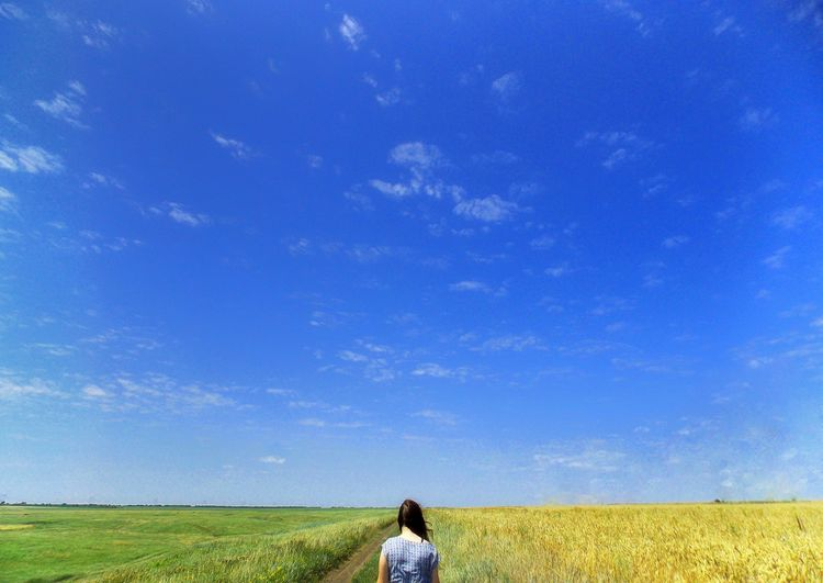 Nature and human Human Nature Natureandhuman NatureandPeople Bluesky Whiteclouds Girl Greengrass Yellowgrass Beauty In Nature Beauty Greenandyellow Cereal Plant Rural Scene Women Blue Standing Agriculture Field Rear View Summer Crop  Cultivated Land Agricultural Field Summer Exploratorium