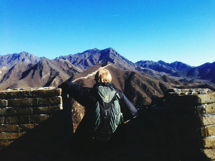Mountain Clear Sky Mountain Range Outdoors One Person Only Men The Places I've Been And The Things I've Seen Autumn 2016 November2016 Travel Around The World China Photos China How Is The Weather Today Travel Destinations Cultures Love My Family Max Great Wall Of China Great Wall Amazing Views Of The World