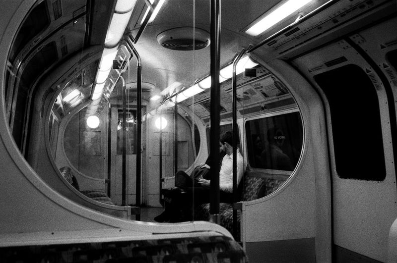 late night train Analogue Photography Central Line Film London Underground Film Photography Filmisnotdead Ilford Leica Public Transportation Rail Transportation Subway Train The Big Smoke Train Transportation Vehicle Seat