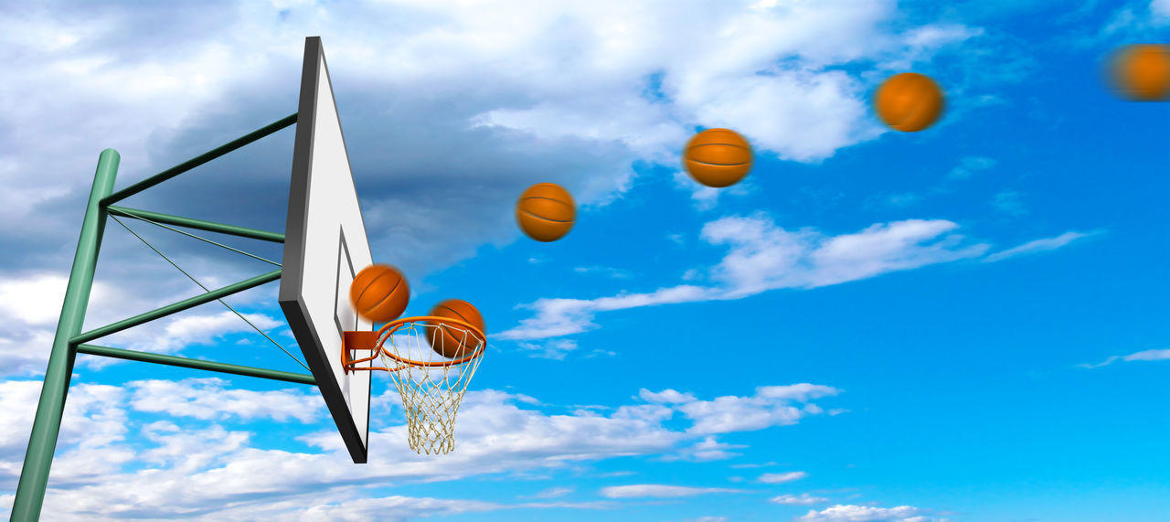 cloud - sky, sky, low angle view, nature, day, blue, basketball - sport, no people, sport, outdoors, basketball hoop, beauty in nature, multi colored, net - sports equipment, orange color, sports equipment, ball, sunlight, motion, metal