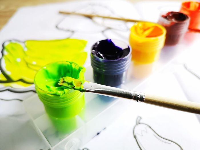 Artistic colouring with water colour paints Paint Brush Multi Colored Oil Paint Paint Artist Art Studio Paintbrush Watercolor Painting Close-up Art And Craft Equipment Watercolor Paints Modern Art Palette Paintings Fine Art Painting Brush Stroke