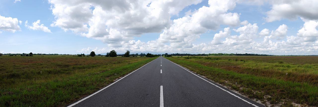 The Road Sky Cloud - Sky Landscape The Way Forward Road Day Grass Nature Scenics Transportation No People Field Tranquility Green Color Outdoors Tranquil Scene Beauty In Nature