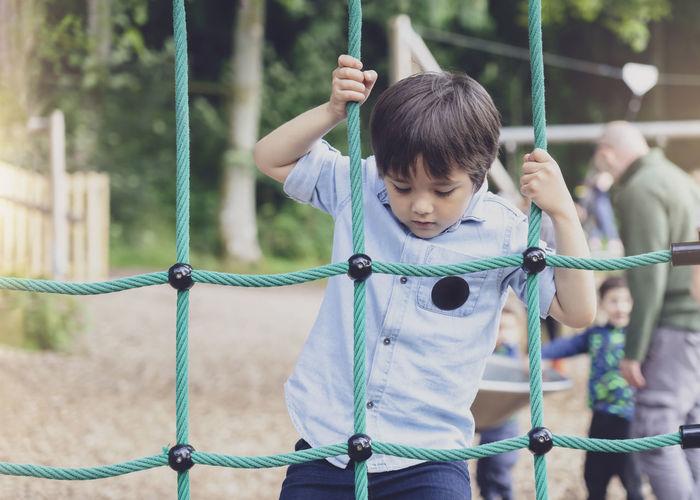Boy playing at park