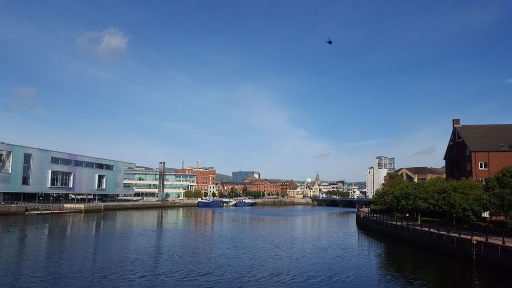 River Lagan River Reflections Lagan Belfast Nothern Ireland  Ulster United Kingdom Blue City Water Cityscape Bird Sky Architecture Building Exterior Built Structure Cloud - Sky