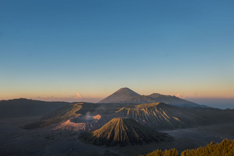 Aerial View Of Mount Bromo Against Clear Sky During Sunset