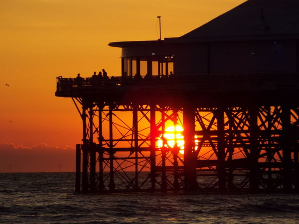 Red Sky Sunset Over The Sea Seascape Sunset Sun Blackpool Central Pier Central Pier Sea The Great Outdoors - 2016 EyeEm Awards People Of The Oceans 43 Golden Moments Miles Away
