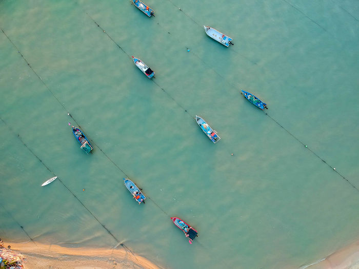 High angle view of fishing boats in sea
