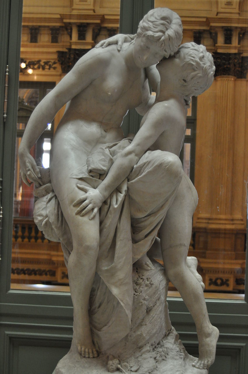 sculpture, statue, art and craft, human representation, representation, creativity, architecture, male likeness, craft, female likeness, indoors, carving - craft product, no people, built structure, museum, history, marble, day, religion, the past, angel, fine art statue, ornate