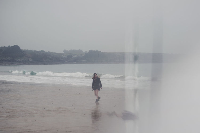 Brittany Beach Beauty In Nature Day Fog Land Leisure Activity Lifestyles Motion Nature One Person Outdoors Real People Sand Sea Walking Water