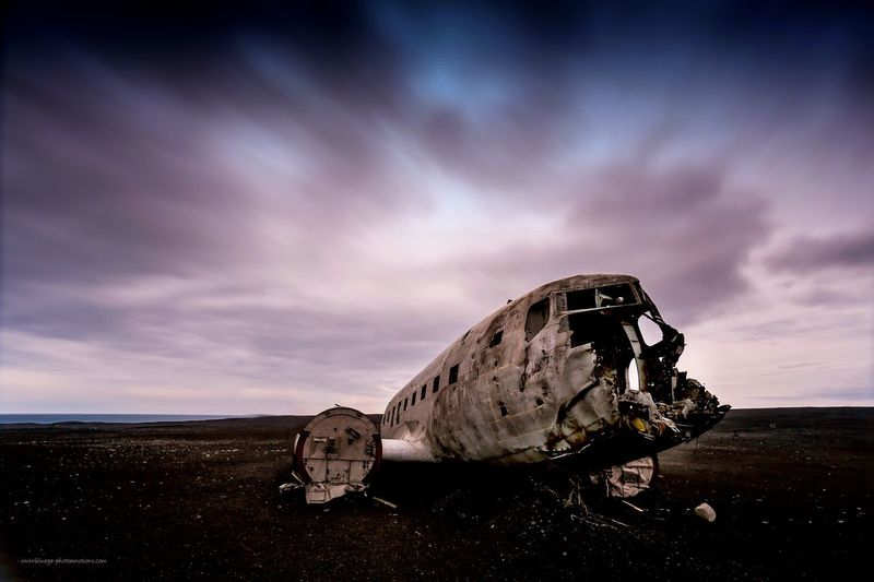 DC3 wreck in Iceland at the coast at Solheimarsandur Sky Damaged Non-urban Scene Cloud Day Outdoors Shore Scenics Tranquility Tranquil Scene Nature Dramatic Sky Cloud - Sky