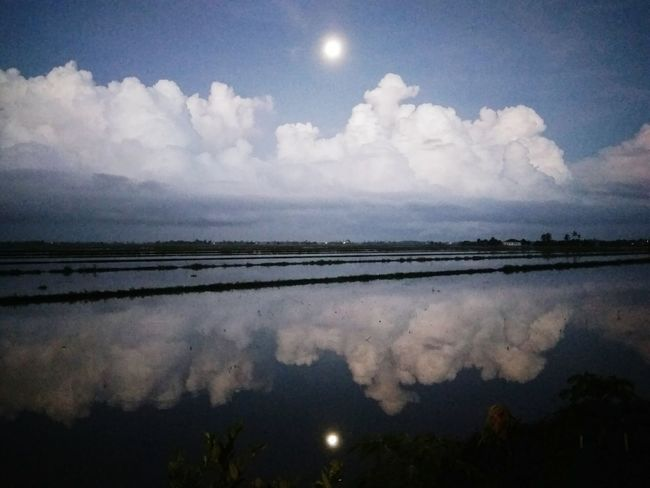 Full moon reflections Full Moon Reflections And Shadows Beauty In Nature Night Tranquility Water Nature Scenery Clouds And Sky Village View The Week On EyeEm EyeEmNewHere Malaysia Truly Asia