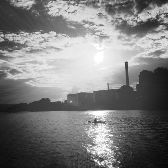 Sky Water Cloud - Sky Silhouette Sea Built Structure Waterfront Building Exterior Architecture Nature Sunlight Outdoors Kajak Sunbeam Incameraeffect Sunset Day Scenics Beauty In Nature Blackandwhite Water Reflections