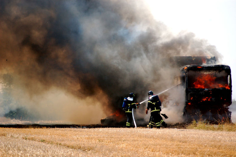 Agriculture Accidents And Disasters Burning Communication Day Destruction Draught Environment Fire Fire - Natural Phenomenon Fire Fighter Flame Group Of People Harvest Harvest Fir Heat - Temperature Nature Outdoors Smoke - Physical Structure Transportation Be Brave