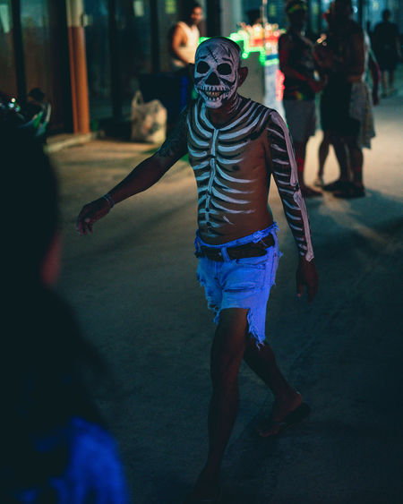 The Walking Dead Real People Full Moon Party In Koh Phangan Full Moon Party Skeleton Body Paint Skull Shorts Night Thailand Street People Walking Leisure Activity Adult Enjoyment Festival Mountain Fancy Dress Costume Celebration Incidental People
