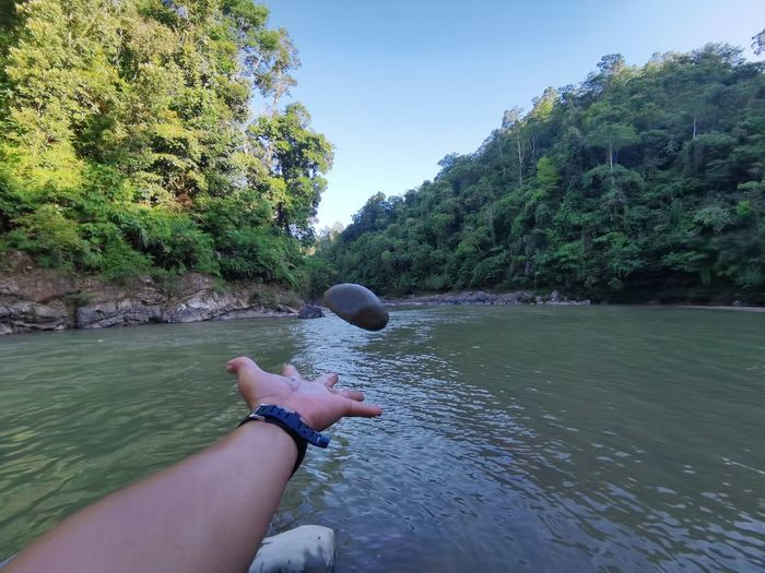 Person hand by plants against river