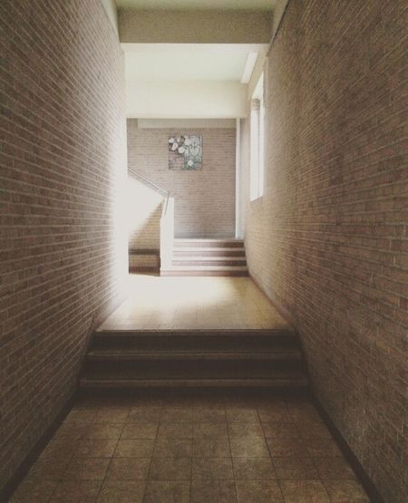 Indoors  The Way Forward Staircase Steps Architecture Steps And Staircases Corridor Built Structure Illuminated No People Day School Denderleeuw Ikso