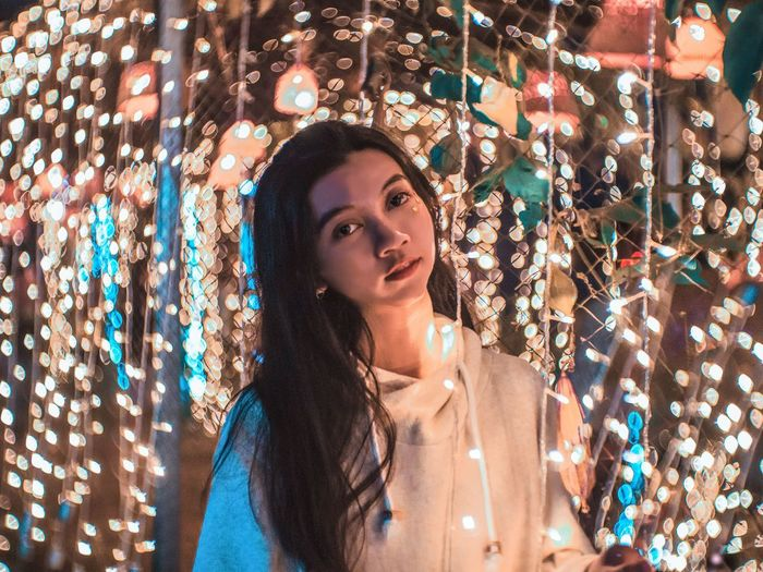 maybe some stars aren't see from sky. One Person Portrait Illuminated Young Adult Beauty Adult Headshot Beautiful Woman Young Women Looking Leisure Activity Women Hair Long Hair Indoors  Lifestyles Real People Looking Away Hairstyle Contemplation Fairy Lights EyeEm Best Shots EyeEmNewHere Magic Standing
